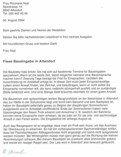 Seezone Altendorf Ernst Maissen